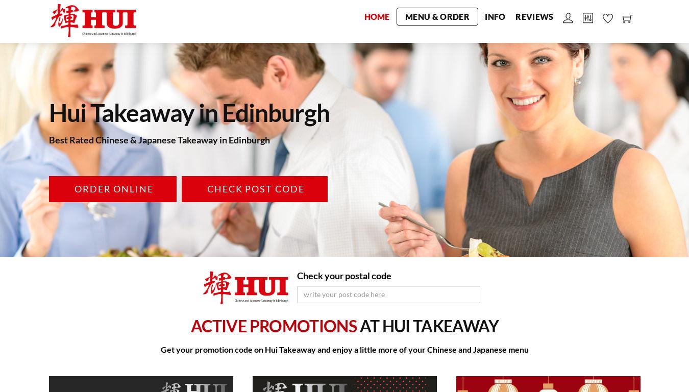 Hui Takeaway Edinburgh. Diseño e-commerce para restaurantes