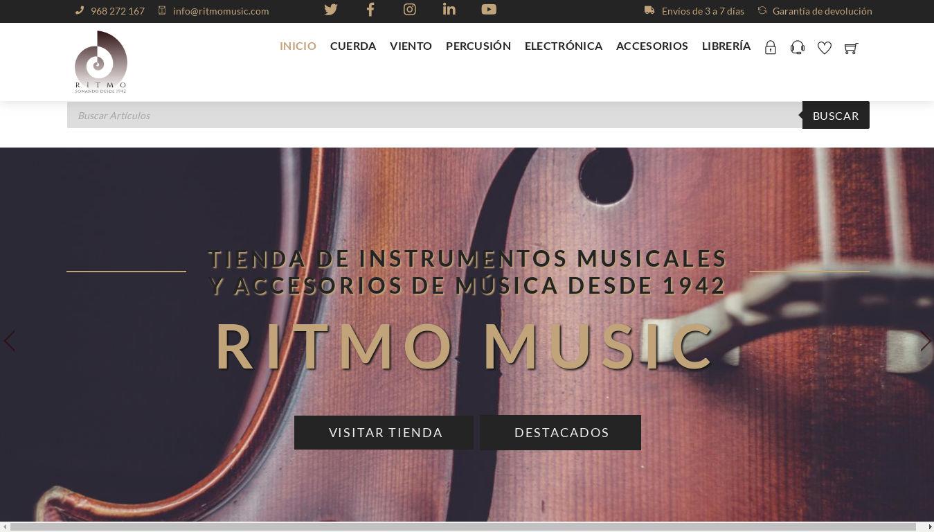 Ritmo Music. Diseño de tienda online de instrumentos musicales.