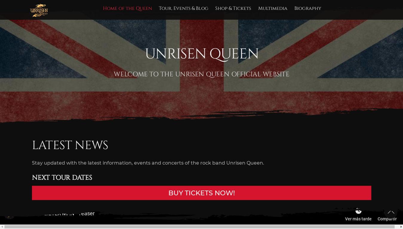 Unrisen Queen. Diseño web bandas de música rock