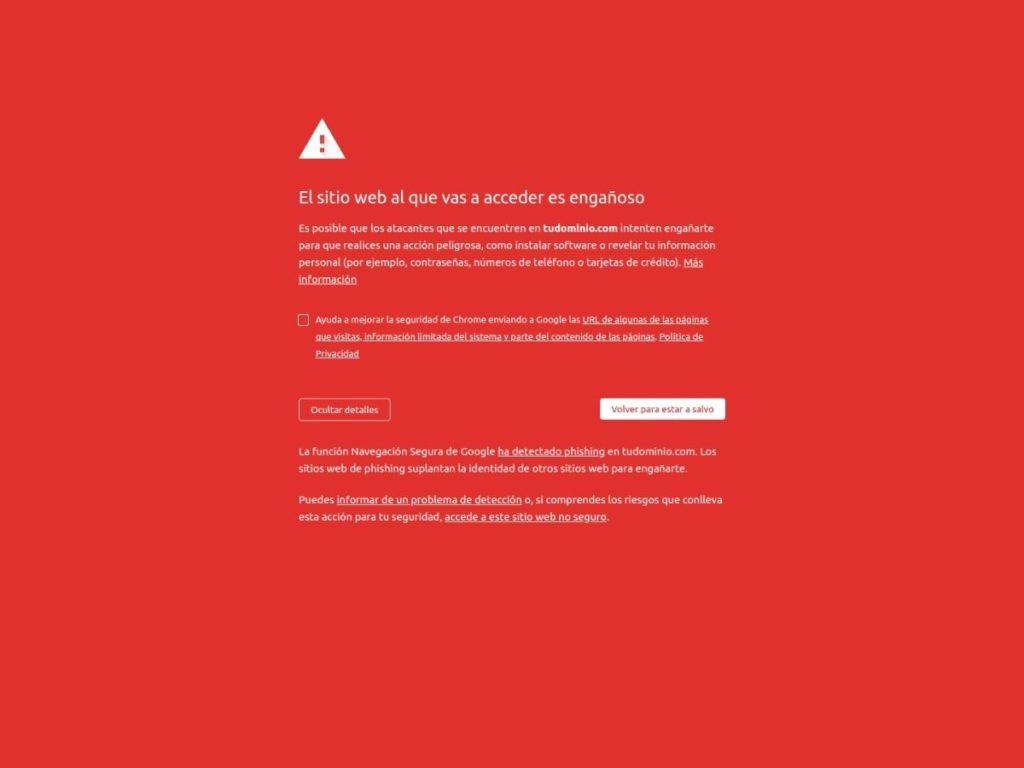 Solucionar Aviso de Seguridad Phising - EL sitio web al que vas a acceder es engañoso