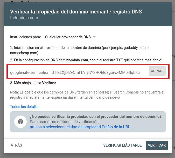 Registro TXT para verificar propiedad en Google Search Console